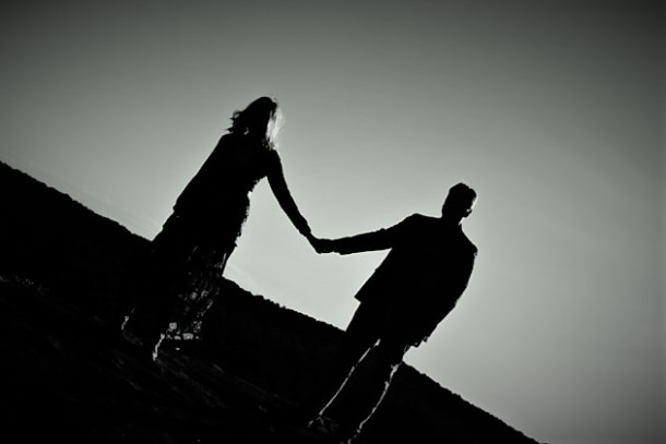silhouette-black-white-top-holding-hands-couple-forever-21-river-west-arabia-mountain-atlanta-georgia-wedding-photographer