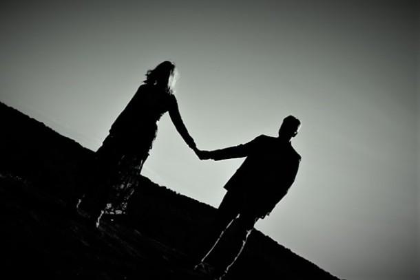 silhouette-black-white-top-holding-hands-couple-forever-21-river-west-arabia-mountain-atlanta-georgia-wedding-photographer